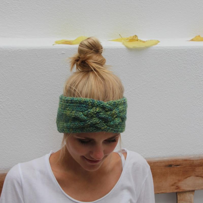 Kleinesbild - Stirnband handgestrickt  *ZOE multi* von zimtblüte Grüntöne / 3 Farbvariationen