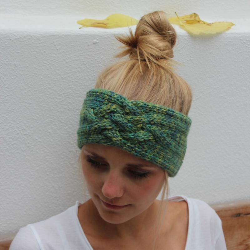 - Stirnband handgestrickt  *ZOE multi* von zimtblüte Grüntöne / 3 Farbvariationen - Stirnband handgestrickt  *ZOE multi* von zimtblüte Grüntöne / 3 Farbvariationen