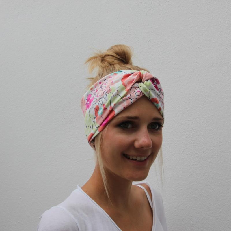 Kleinesbild - ! SALE !  Turban Stirnband **BLUMEN**  mit Twist Bandeau von zimtblüte