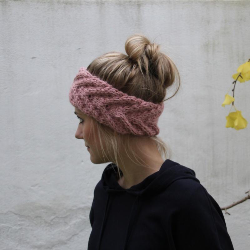 Kleinesbild -  Stirnband EFFI alpaka handgestrickt puderrosa von zimtblüte Handarbeit mehrere Farben