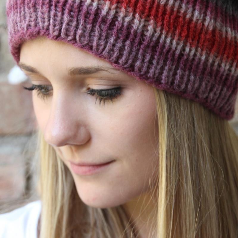 Kleinesbild - leichter Beanie gestrickt  * INGA *  Wollbeanie Farbverlaufswolle