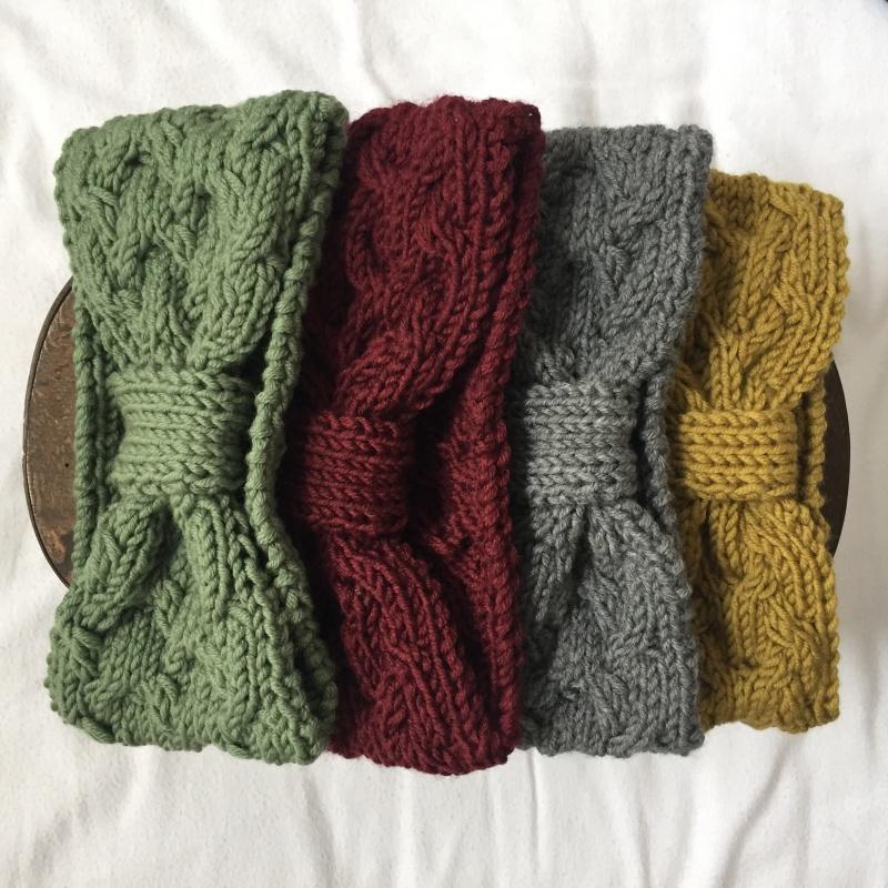 Kleinesbild - Stirnband * ANNA * senfgelb von zimtblüte  handgestrickt in 4 Farben