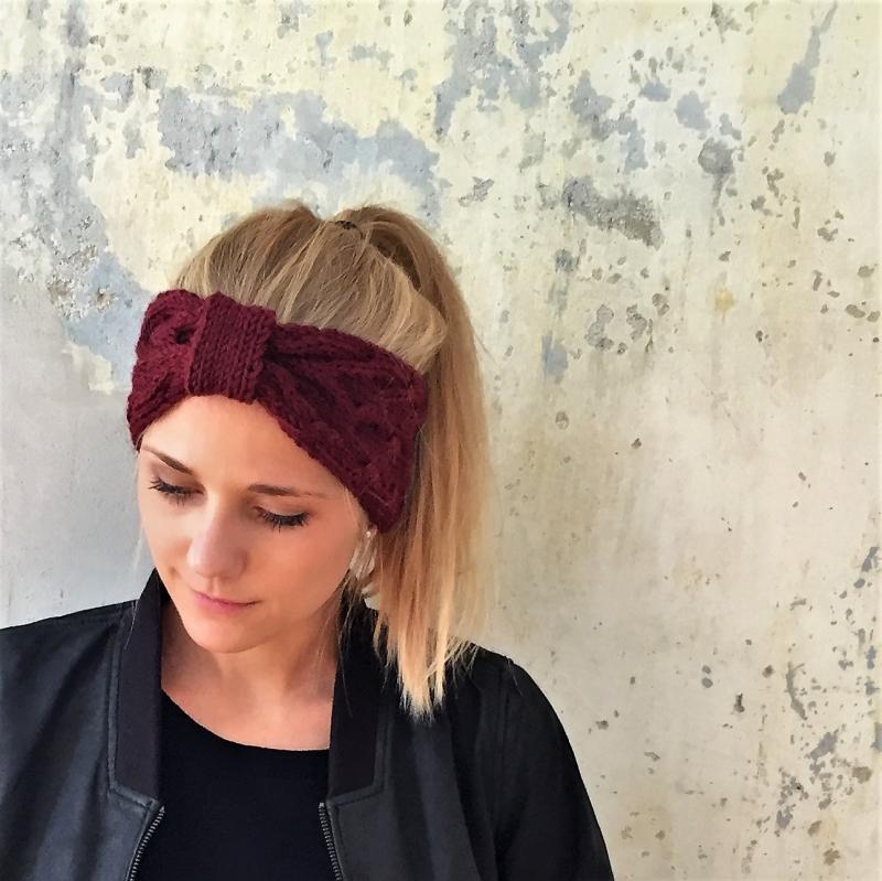 - Stirnband * ANNA * dunkelrot von zimtblüte  handgestrickt in 4 Farben  - Stirnband * ANNA * dunkelrot von zimtblüte  handgestrickt in 4 Farben
