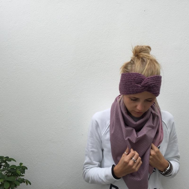 Kleinesbild -  ! SALE ! Stirnband gestrickt  ** CARO melange ** mit Kaschmir handgestrickt mit Twist von zimtblüte