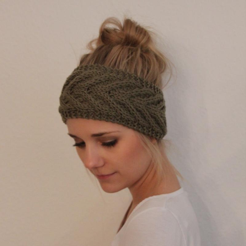 Kleinesbild - Stirnband *EFFI merino* in salbei grün von zimtblüte handgestrickt
