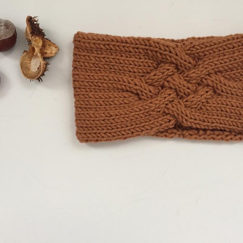 Kleinesbild - Gestricktes Stirnband *ZOE *  Handarbeit  aus Wolle von zimtblüte karamell und andere Farben