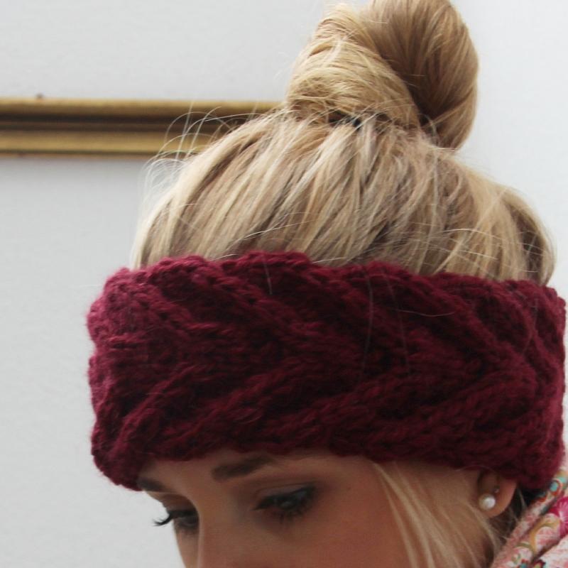 Kleinesbild - Bordeaux Stirnband ** EFFI alpaka **  dunkelrot handgestrickt von zimtblüte /  Farbwahl