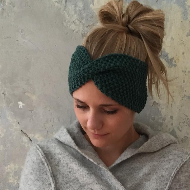 -  Stirnband Modell **MARIE**  tannengrün handgestrickt von zimtblüte / Farbwahl -  Stirnband Modell **MARIE**  tannengrün handgestrickt von zimtblüte / Farbwahl
