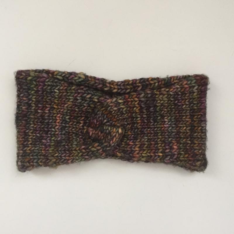Kleinesbild -  Stirnband aus Wolle  **  CARO melange ** Turbanstirnband von zimtblüte handgestrickt mit Twist