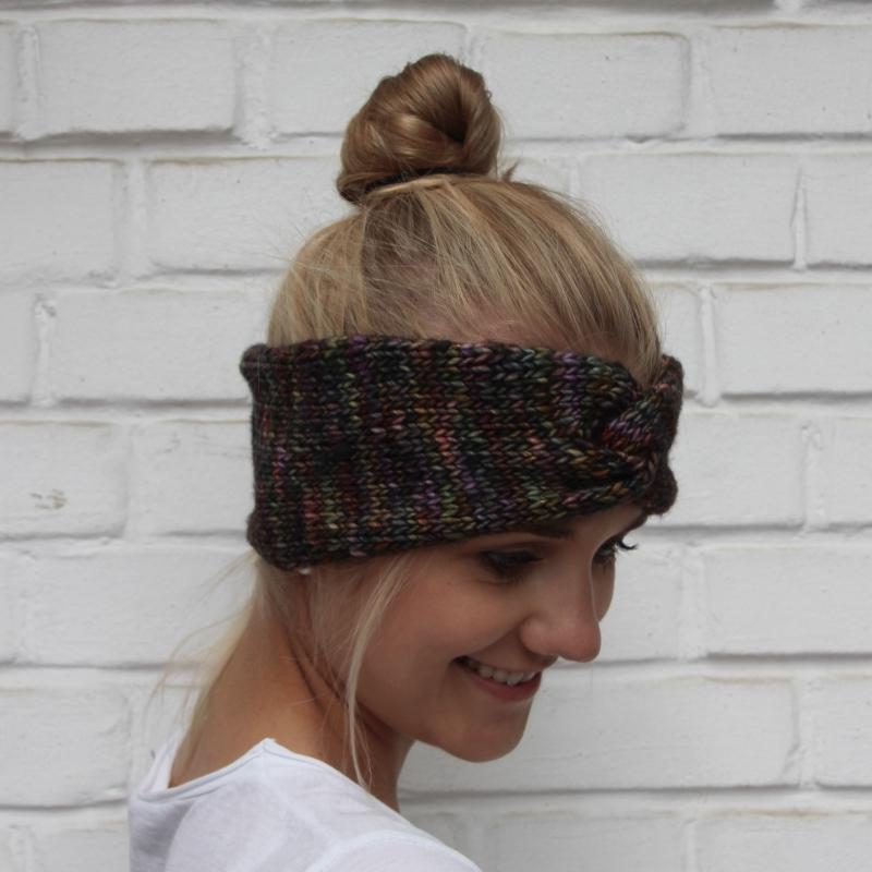 -  Stirnband aus Wolle  **  CARO melange ** Turbanstirnband von zimtblüte handgestrickt mit Twist -  Stirnband aus Wolle  **  CARO melange ** Turbanstirnband von zimtblüte handgestrickt mit Twist