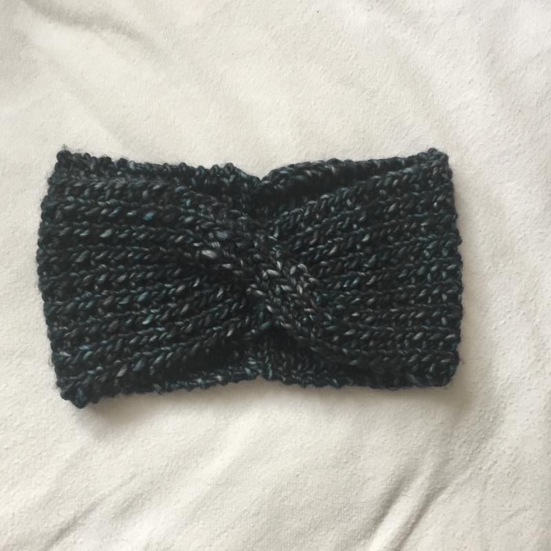 Kleinesbild - SALE  Stirnband handgestrickt  ** MARIE melange ** dunkelblau von zimtblüte