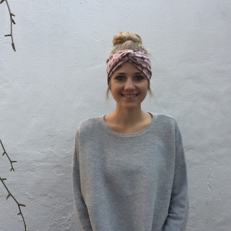 Kleinesbild -  Turban Stirnband ** LEOPRINT ** puderrosa von zimtblüte im Turbanstyle zwei Farben