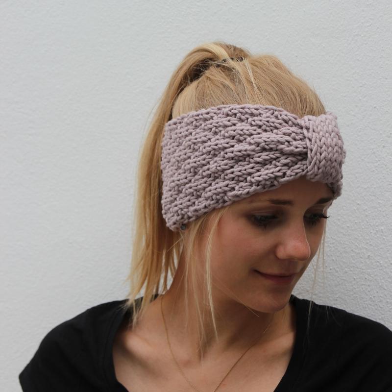 Kleinesbild -  Stirnband * SARA * mit Schlaufe aus Wolle handgestrickt von zimtblüte / Farbwahl
