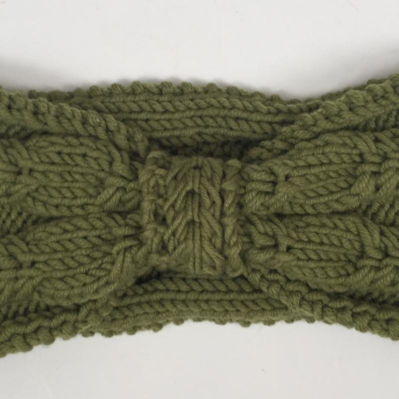 Kleinesbild -   Stirnband * BELLE * olivgrün aus Wolle handgestrickt von zimtblüte / Farbwahl