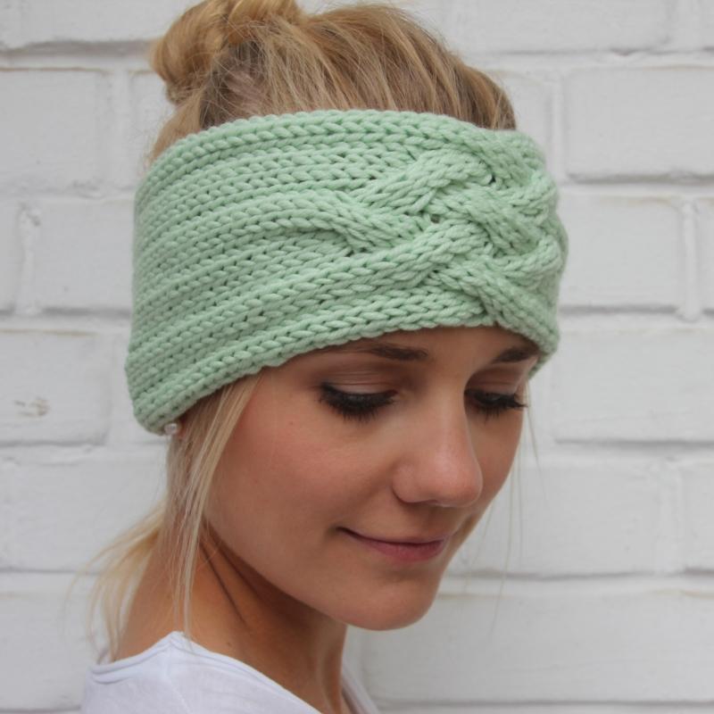- Gestricktes Stirnband *ZOE *  Handarbeit  aus Wolle von zimtblüte zartes Grün und andere Farben  - Gestricktes Stirnband *ZOE *  Handarbeit  aus Wolle von zimtblüte zartes Grün und andere Farben