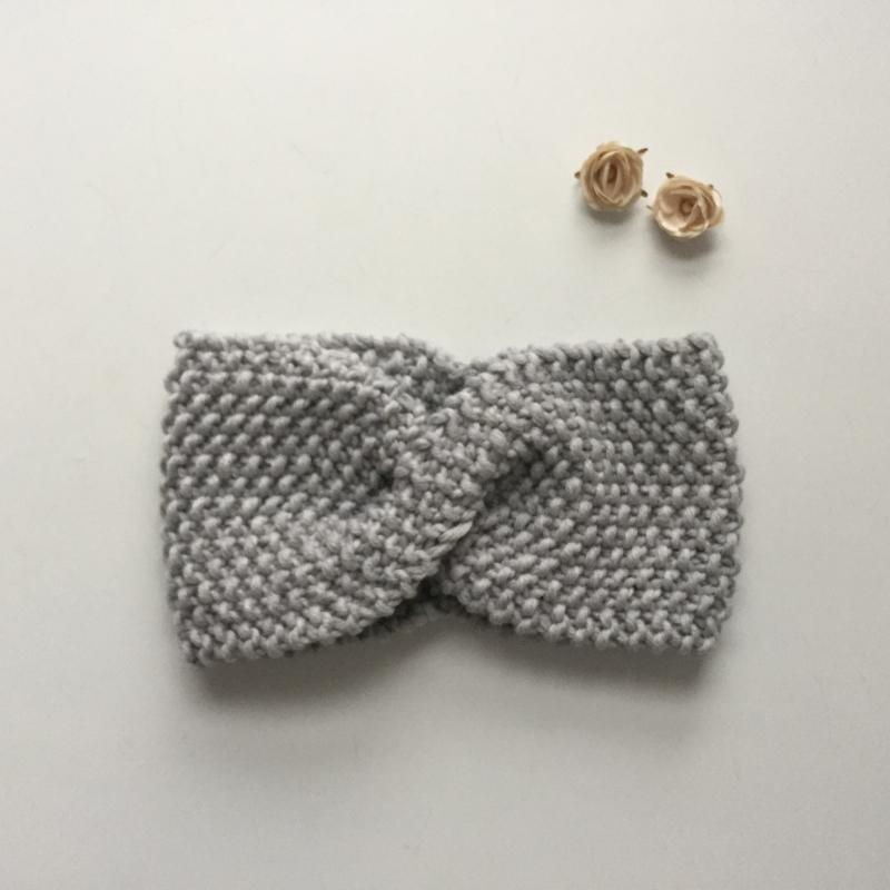 Kleinesbild - Stirnband * MARIE *  hellgrau handgestrickt von zimtblüte