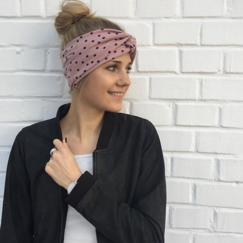 Kleinesbild -  Turban Stirnband ** BLINGBLING** puderrosa mit Gold von zimtblüte im Turbanstyle