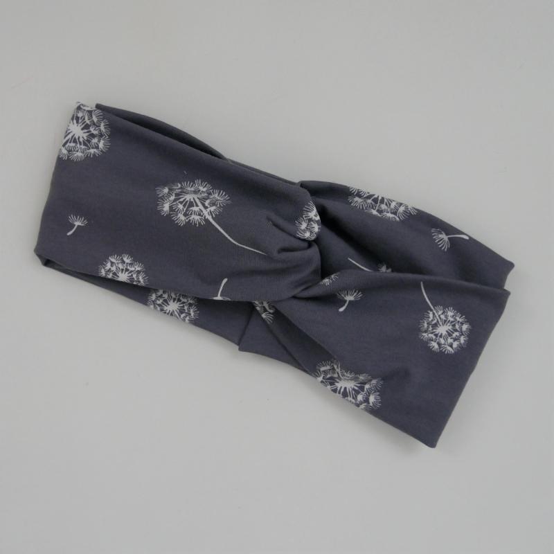 Kleinesbild - Haarband Stirnband  * PUSTEBLUME *  Turbanstyle grau Handarbeit von zimtbluete