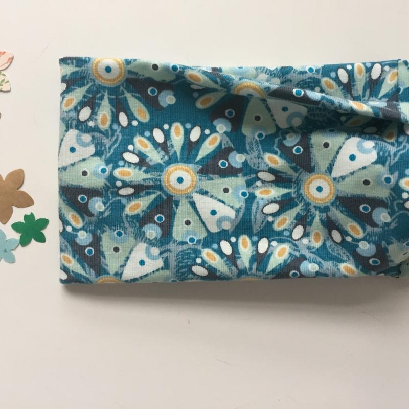 Kleinesbild - Turban Stirnband * FLOWERS * Haarband blau türkis mint Handarbeit von zimtbluete