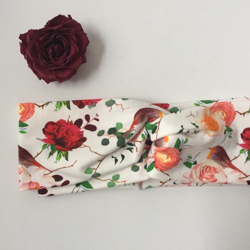Kleinesbild - Turban Stirnband * ROSE *  und Rotkehlchen Handarbeit von zimtblüte  Haarband