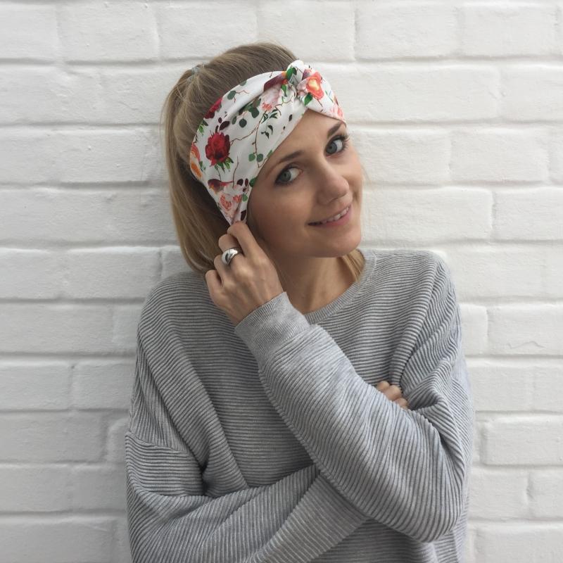 - Turban Stirnband * ROSE *  und Rotkehlchen Handarbeit von zimtblüte  Haarband   - Turban Stirnband * ROSE *  und Rotkehlchen Handarbeit von zimtblüte  Haarband