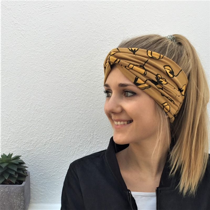- Turban Stirnband * MOHN in gelb *  Haarband Handarbeit von zimtblüte  Haarband    - Turban Stirnband * MOHN in gelb *  Haarband Handarbeit von zimtblüte  Haarband
