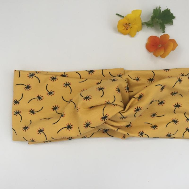 Kleinesbild - Turbanstyle Stirnband PUSTEBLUME auf gelb Handarbeit von zimtblüte  TurbanHaarband