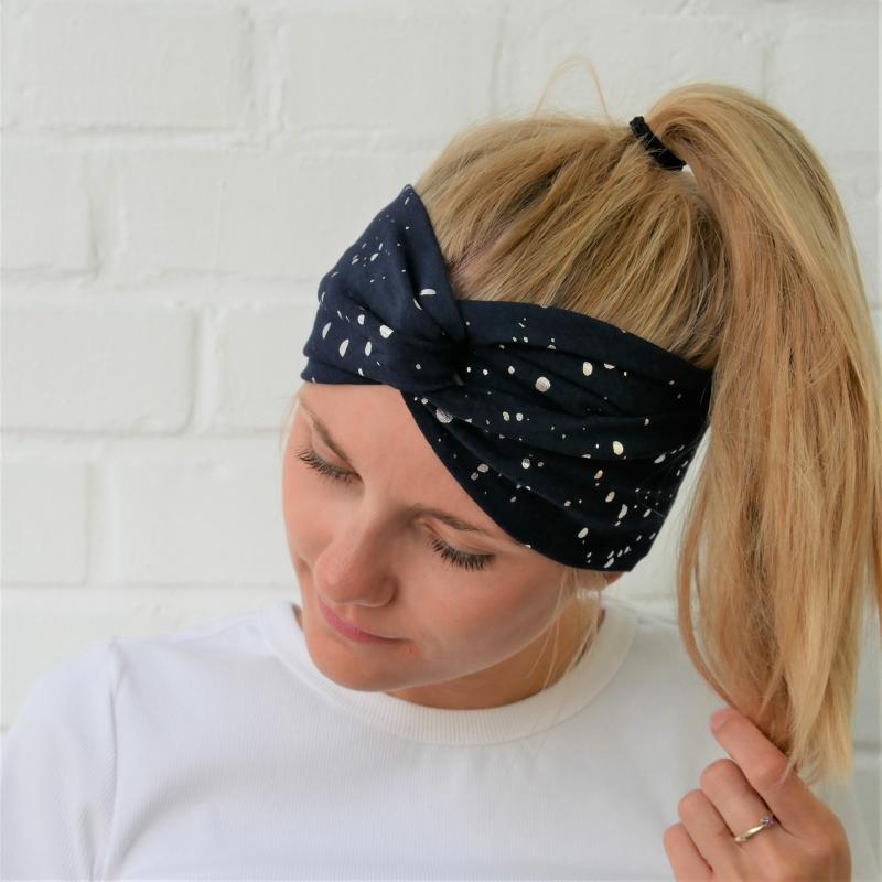 Kleinesbild - Turbanstyle Stirnband BLINGBLING silberfarben auf blau Handarbeit von zimtblüte  TurbanHaarband