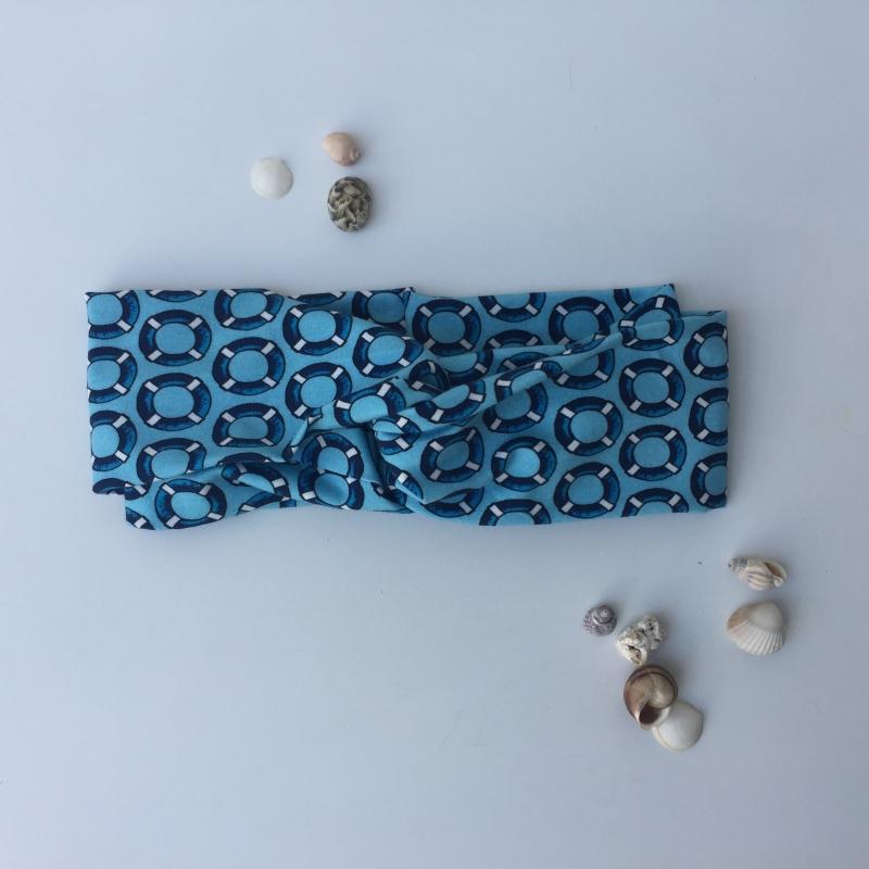 Kleinesbild - ** SALE ** Turbanstyle Stirnband AHOI Handarbeit von zimtblüte  Turbanstirnband selbstgenäht blau