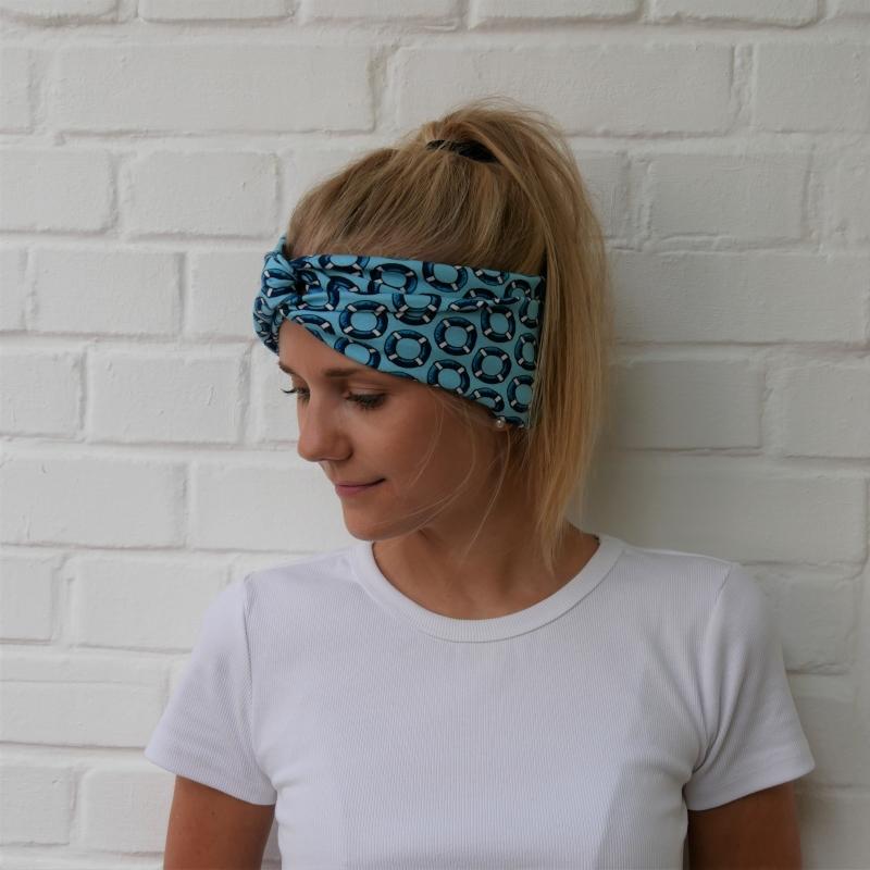 - ** SALE ** Turbanstyle Stirnband AHOI Handarbeit von zimtblüte  Turbanstirnband selbstgenäht blau - ** SALE ** Turbanstyle Stirnband AHOI Handarbeit von zimtblüte  Turbanstirnband selbstgenäht blau