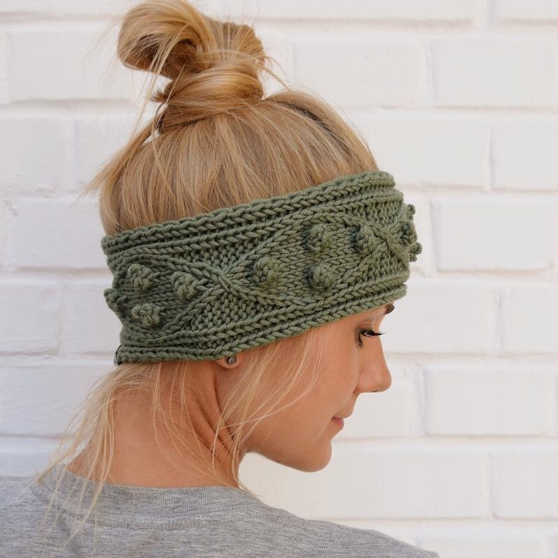 -  Stirnband Modell POPKORN * oliv grün aus Wolle handgestrickt Handarbeit von zimtblüte  -  Stirnband Modell POPKORN * oliv grün aus Wolle handgestrickt Handarbeit von zimtblüte