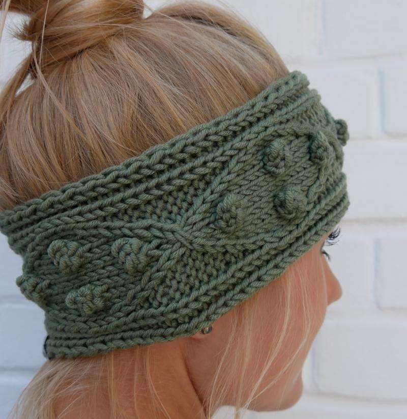 Kleinesbild -  Stirnband Modell POPKORN * oliv grün aus Wolle handgestrickt Handarbeit von zimtblüte