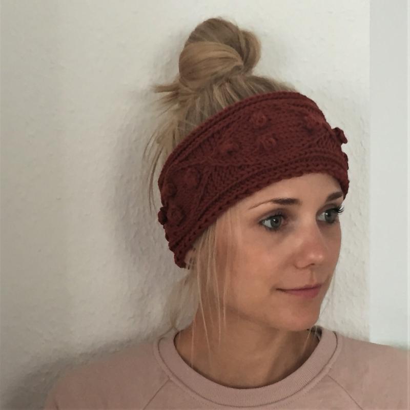 Kleinesbild -  Stirnband * POPKORN * rostrot aus Wolle handgestrickt 5 FarbenHandarbeit von zimtblüte