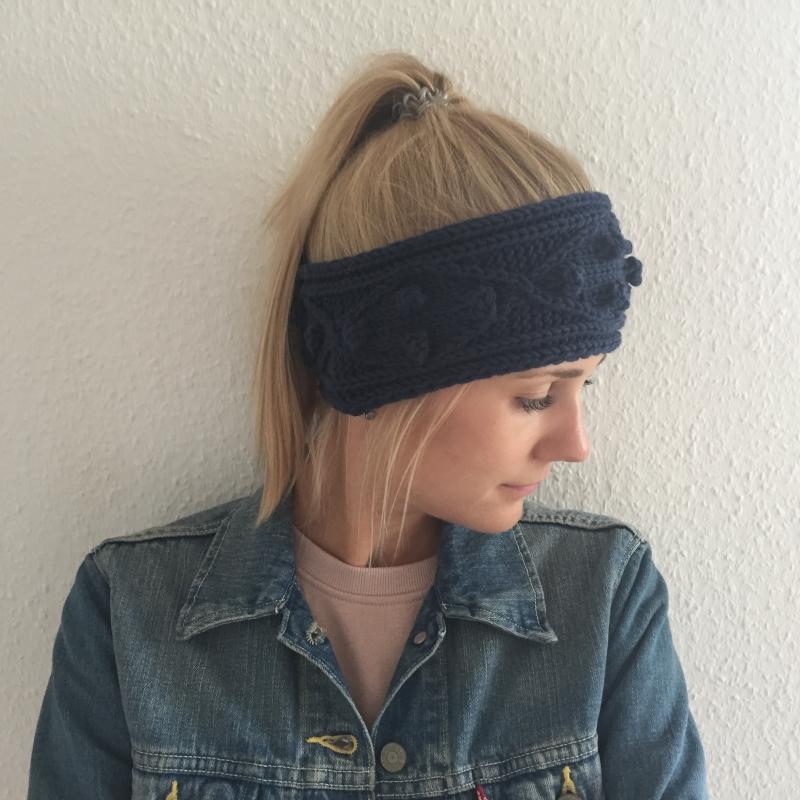 Kleinesbild - Stirnband * POPKORN * jeansblau aus Wolle handgestrickt 5 Farben Handarbeit von zimtblüte
