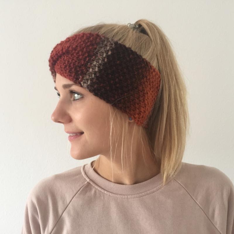 Kleinesbild - Stirnband * MARIE *  Farbverlaufsgarn Rost handgestrickt von zimtblüte