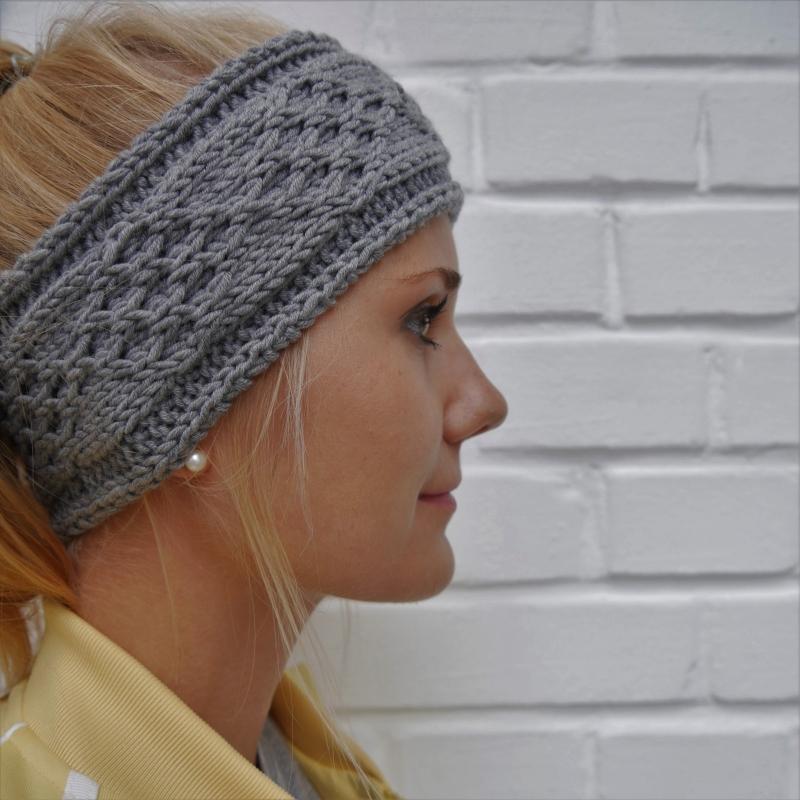 - Stirnband * KIM * grau melange aus Wolle handgestrickt 3 Farben Handarbeit von zimtblüte  - Stirnband * KIM * grau melange aus Wolle handgestrickt 3 Farben Handarbeit von zimtblüte