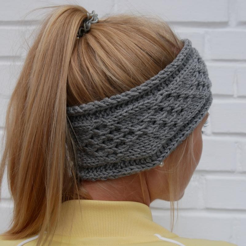 Kleinesbild - Stirnband * KIM * grau melange aus Wolle handgestrickt 3 Farben Handarbeit von zimtblüte