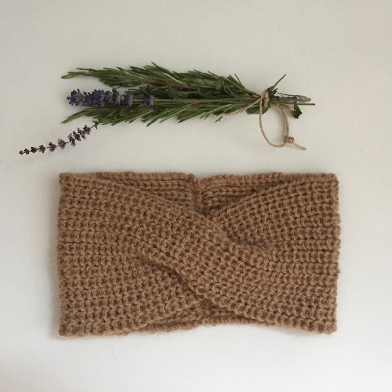 Kleinesbild - Stirnband * TWIST *  für Frauen aus Babyalpaca Sand handgestrickt von zimtblüte    4 Farben