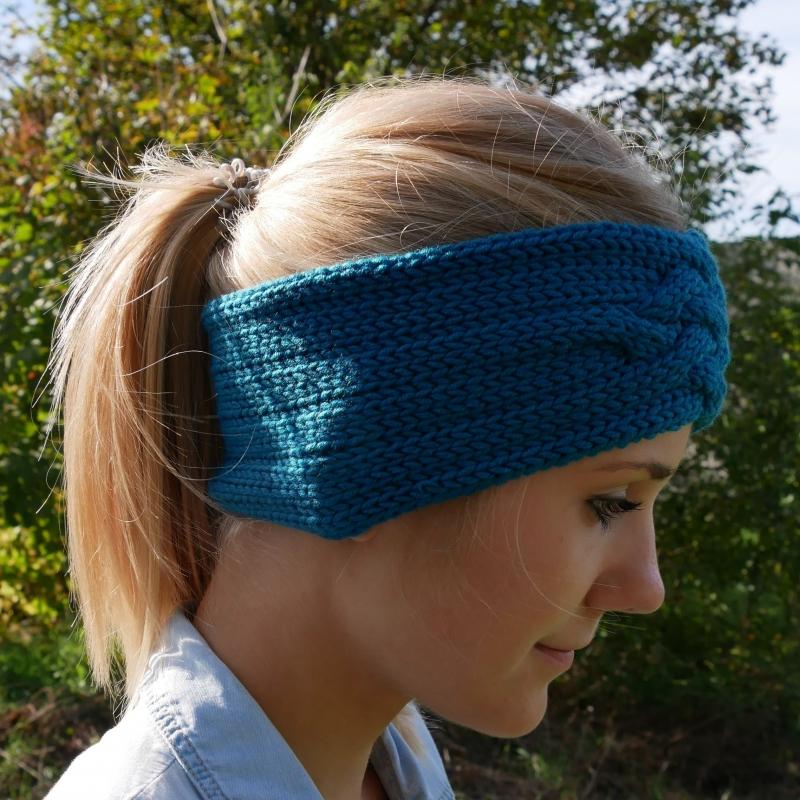 Kleinesbild - Gestricktes Stirnband *ZOE *  Handarbeit  aus Wolle von zimtblüte dunkles Petrol und andere Farben