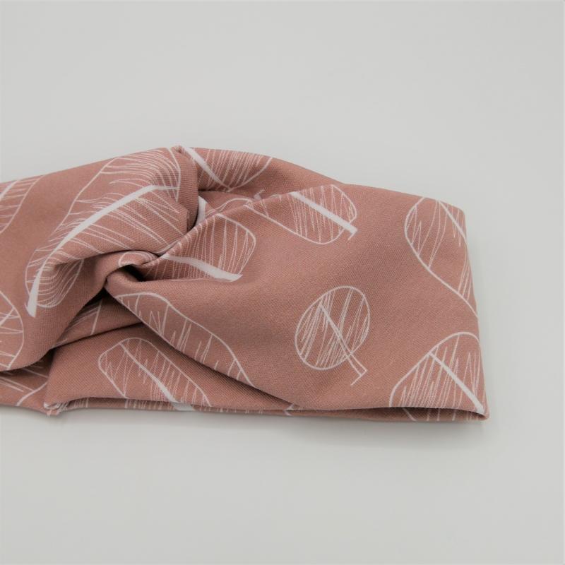 Kleinesbild - Turbanstyle Stirnband MODERNART auf puderrosa  Handarbeit von zimtblüte  TurbanHaarband