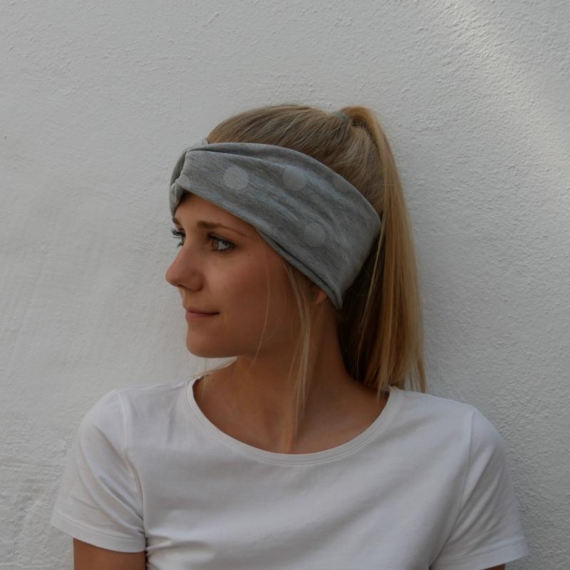 - Turbanstyle Stirnband SILBERGRAU mit Glitzer Handarbeit von zimtblüte  TurbanHaarband    - Turbanstyle Stirnband SILBERGRAU mit Glitzer Handarbeit von zimtblüte  TurbanHaarband