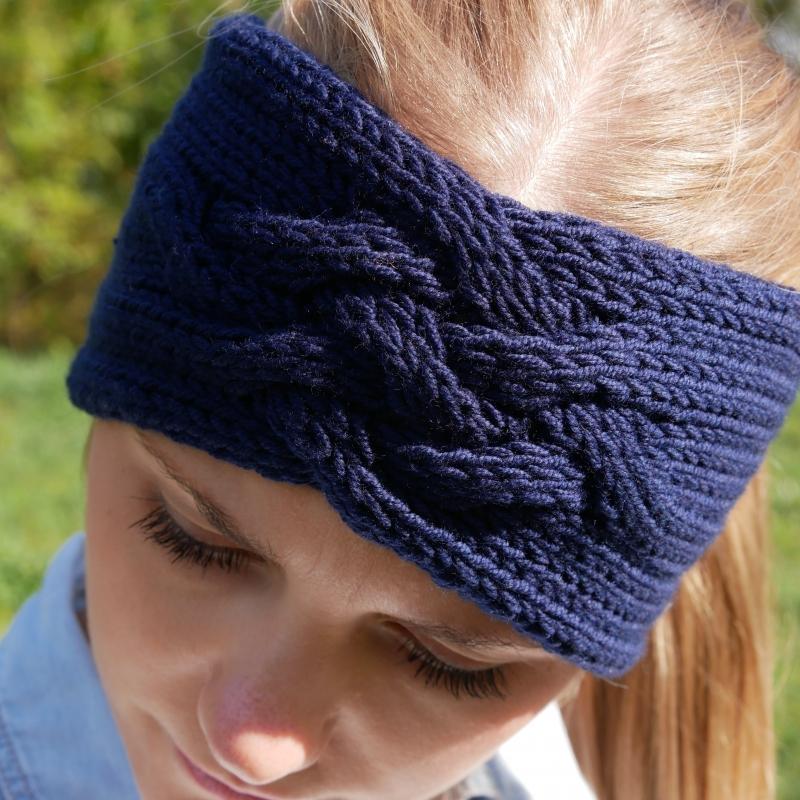 Kleinesbild -  Stirnband *ZOE *  Handgestrickt  aus Wolle von zimtblüte dunkelblau