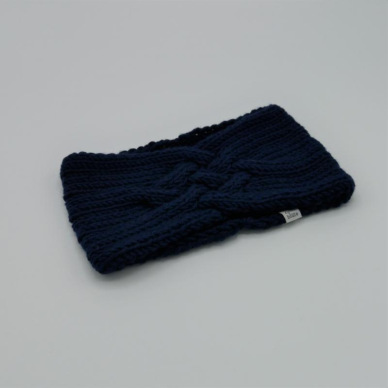 -  Stirnband *ZOE *  Handgestrickt  aus Wolle von zimtblüte dunkelblau  -  Stirnband *ZOE *  Handgestrickt  aus Wolle von zimtblüte dunkelblau