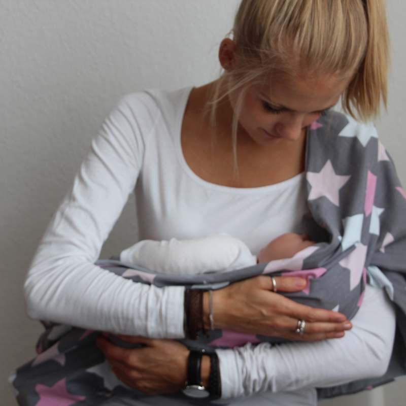 Kleinesbild - Schlauchschal   STREIFENLIEBE Trendfarbe senfgelb XL Breite  auch Stillschal von zimtblüte