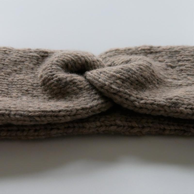 Kleinesbild - Handgestricktes Stirnband CARO double Handarbeit Wolle Kaschmir von zimtblüte sand und andere Farben