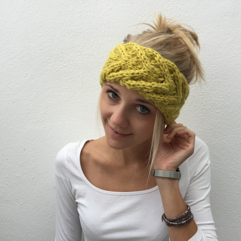 -  Stirnband **EFFI alpaka** gelb handgestrickt von zimtblüte mehrere Farben   -  Stirnband **EFFI alpaka** gelb handgestrickt von zimtblüte mehrere Farben