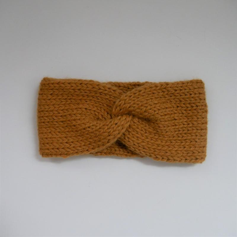 Kleinesbild -  Stirnband CARO double Wolle aus Alpaka von zimtblüte senfgelb handgestrickt
