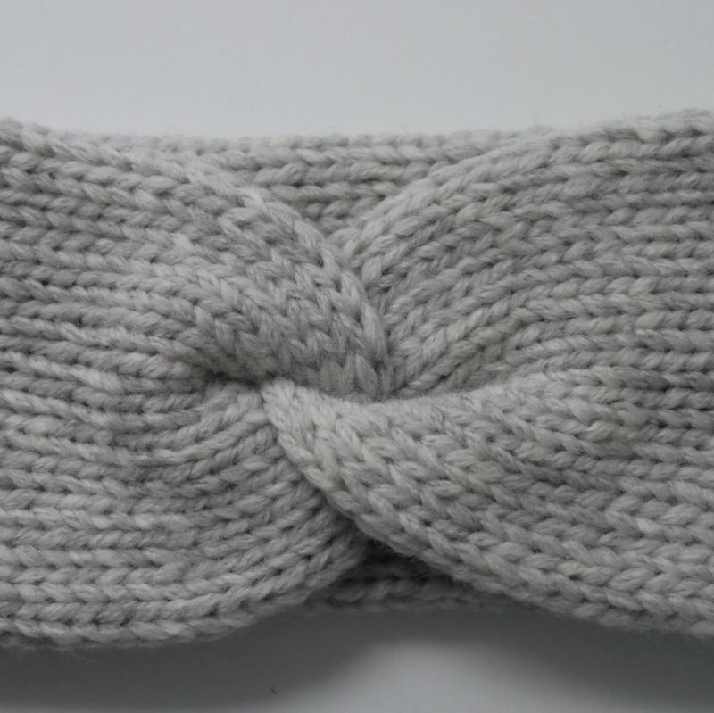 Kleinesbild - Stirnband Modell CARO double Wolle mit Kaschmir von zimtblüte hellgrau und anthrazit