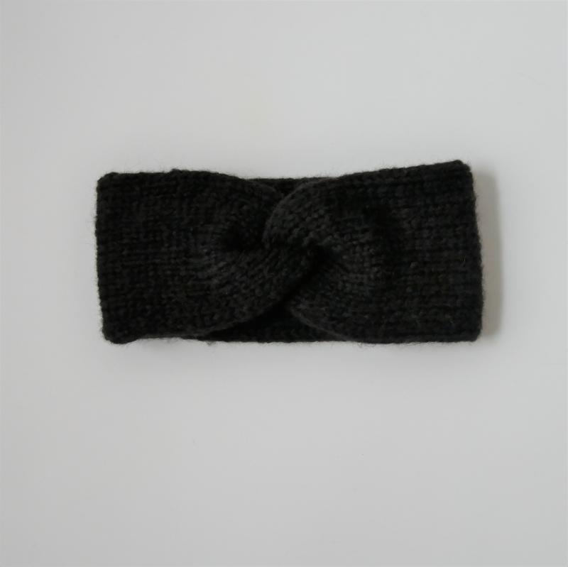 Kleinesbild -  Stirnband Modell CARO double handgestrickt von zimtblüte schwarz