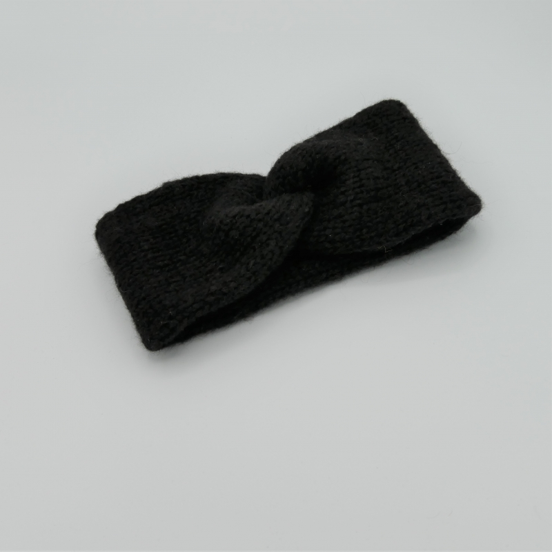 -  Stirnband Modell CARO double handgestrickt von zimtblüte schwarz -  Stirnband Modell CARO double handgestrickt von zimtblüte schwarz